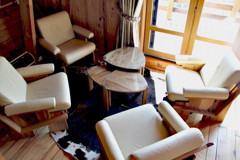 Salon plein sud comprenant, 5 fauteuils, 3 tables gigognes